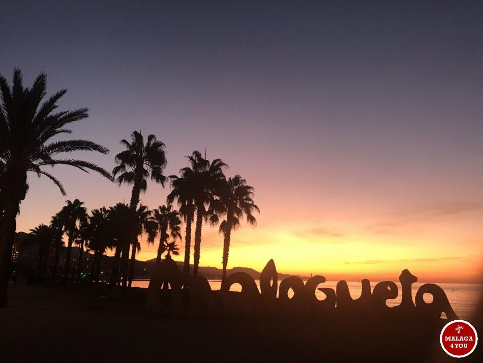 sunrise zonsopgang Playa la Malagueta Malaga