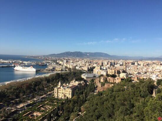 Malaga zicht op de stad vanop de mirador van de Gibralfaro